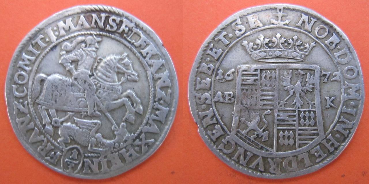 1/3 Thaler. Condado de Mansfeld-Bornstedt (Alemania). 1672 1_tercio_taler_condado_Mansfeld_Bornstedt_1672