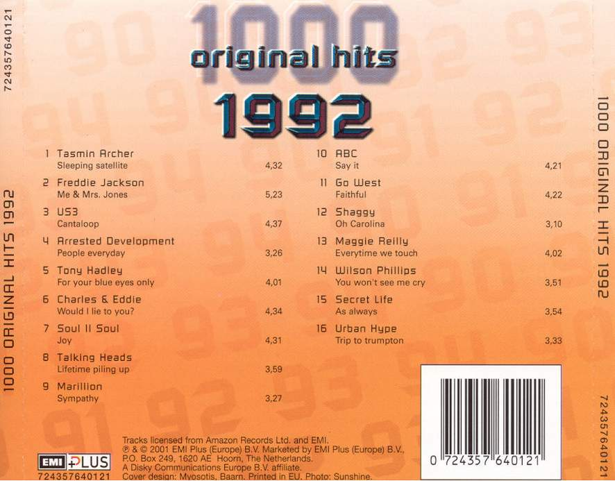 1000 Original Hits 1960-1999  - Stránka 2 1000_Original_Hits_1992_-_Back