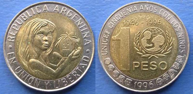 LA MONEDA BIMETALICA ARGENTINA DE UN PESO. SU HISTORIA. Unicef_anverso