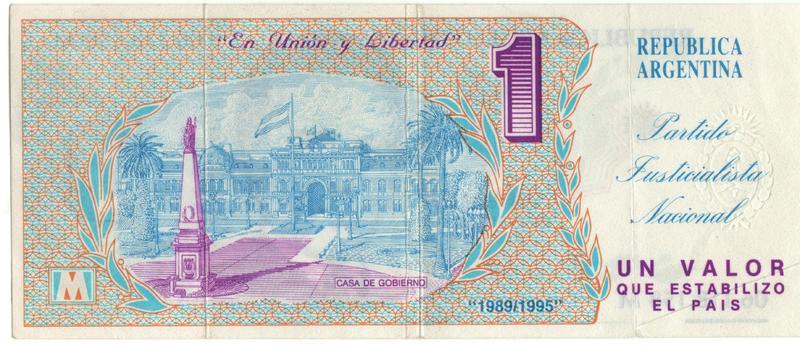 1 Valor Argentina, 1990 (Curioso y controvertido) Reverso_menemtrucho