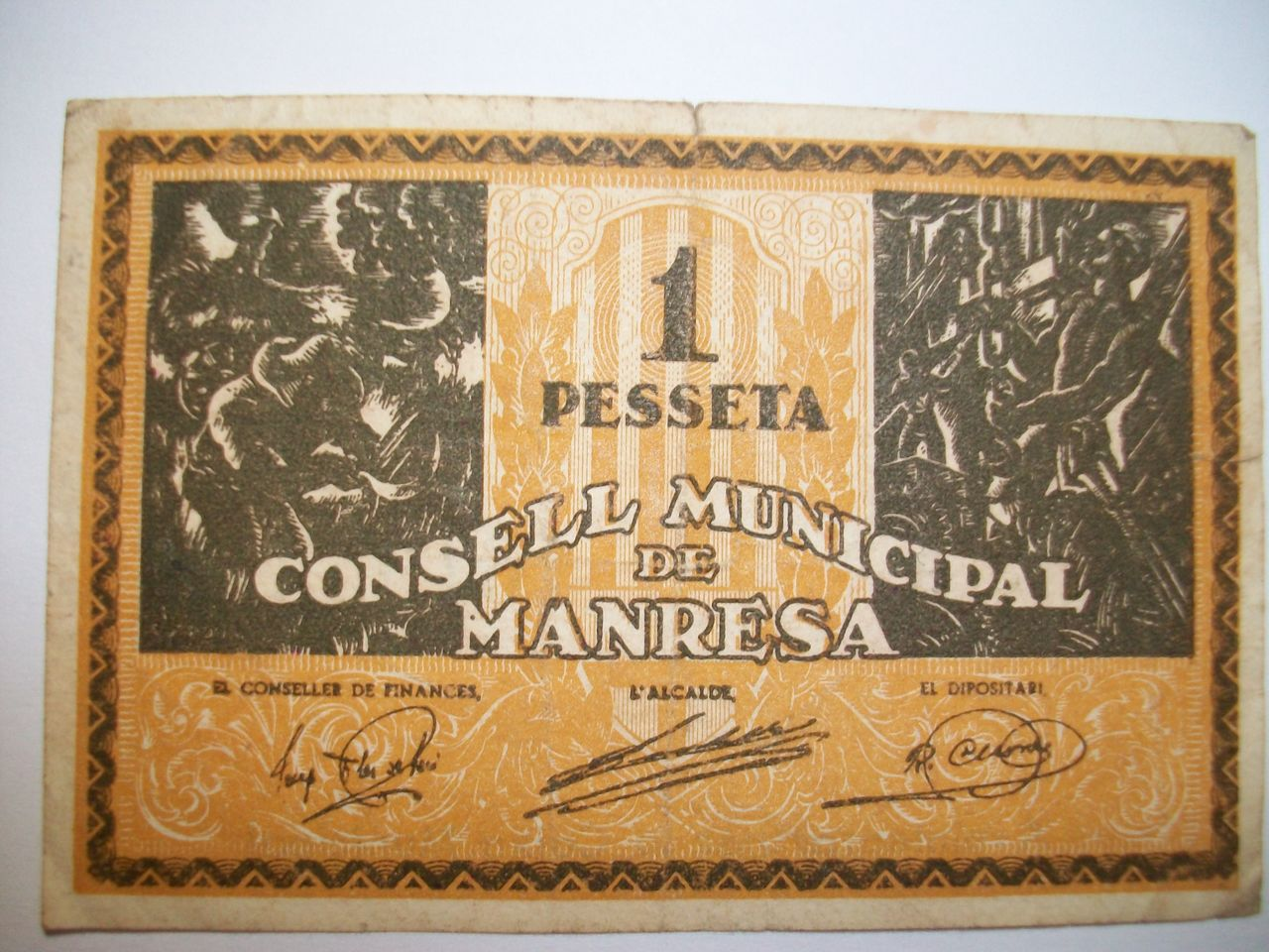 1 Peseta Consell Municipal de Manresa, 1937 100_1918