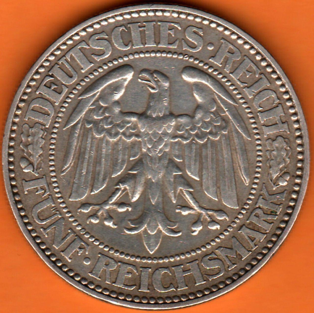 Republica de Weimar 5 Reichsmark 1928 1928a