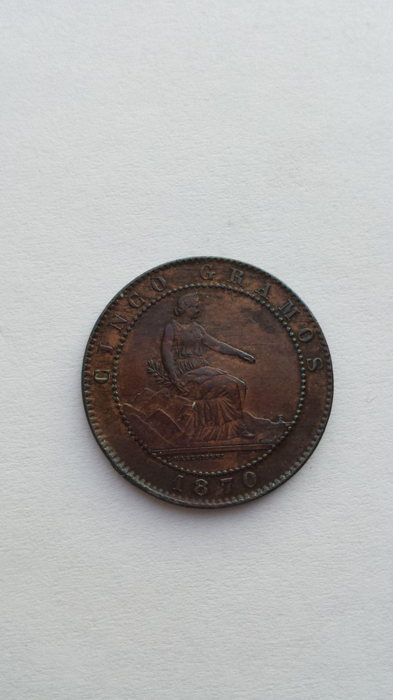 5 céntimos 1870  5c_1870_mbc_b