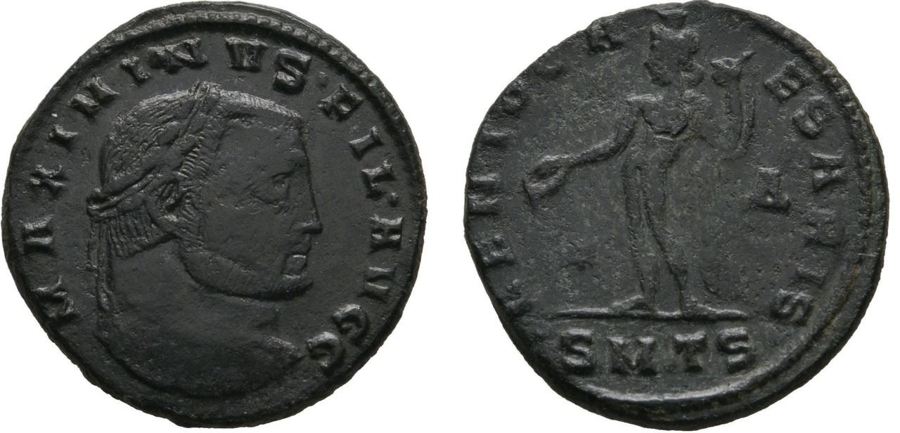"""Nummus de Maximino II Daza como """"Hijo de Augustos"""" Maximino_ii_fil_avgg"""