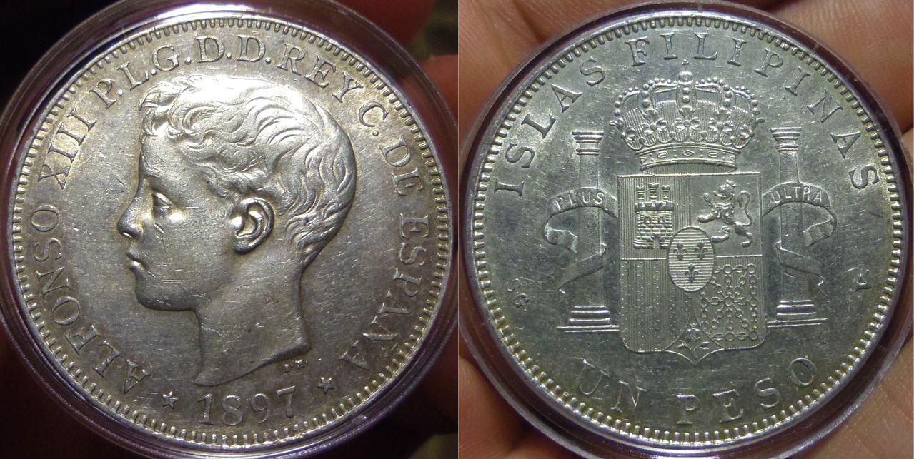 1 Peso. Alfonso XIII. Islas Filipinas. Madrid. 1897. IMGP3898