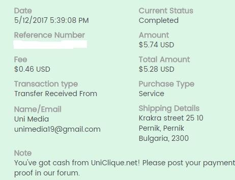 1º Pago de Uniclique ( $5,74 ) Unicliquepayment