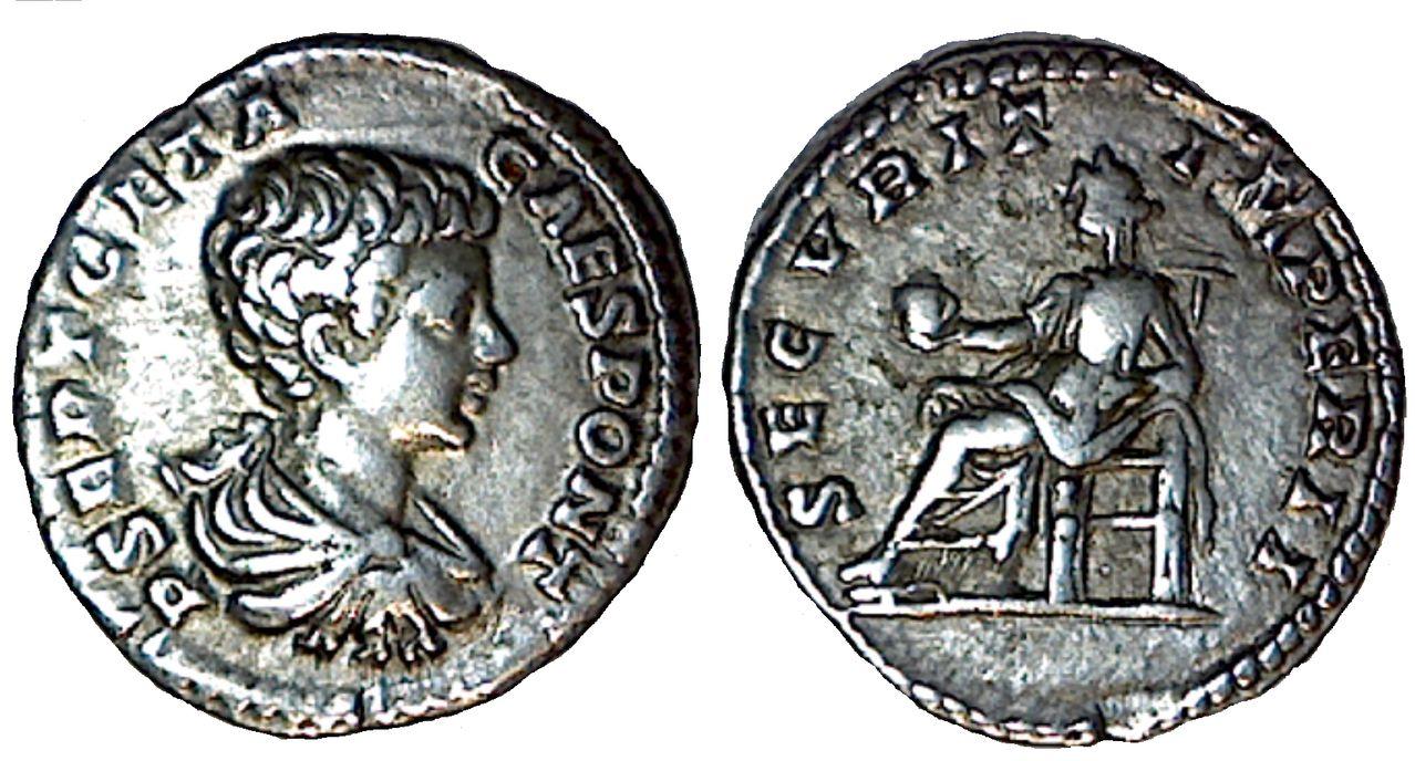 Denario de Geta. SECVRIT IMPER II. Ceca Roma. Geta