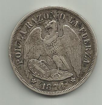 1 peso de Chile 1874  1_peso_de_Chile_1874_anverso