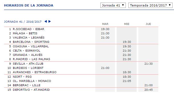 LA QUINIELA DE ZONAMALAGUISTA. J25ª (28 Febrero 1-2 Marzo) JQ_Horarios