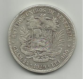 5 Bolivares de 1929 Venezuela 5_Bolivares_Venezuela_1929_rever