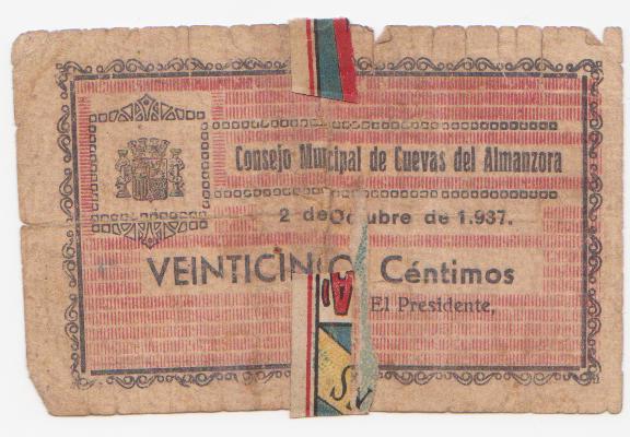 25 Céntimos Cuevas de Almanzora, 1937 Cuevas_de_almanzora