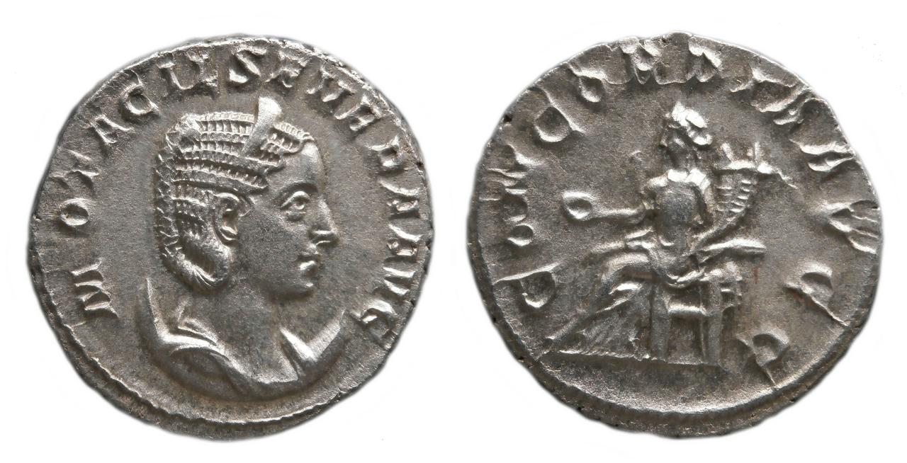 Antoniniano de Otacilia Severa. PVDICITIA AVG. Pudicita sedente a izq. Ceca Roma. Otacilia