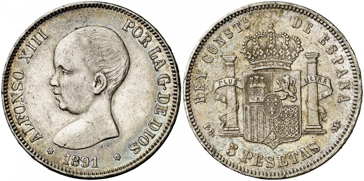 Alfonso XIII 5 Pesetas 1891 (18*91*) PG-M Image