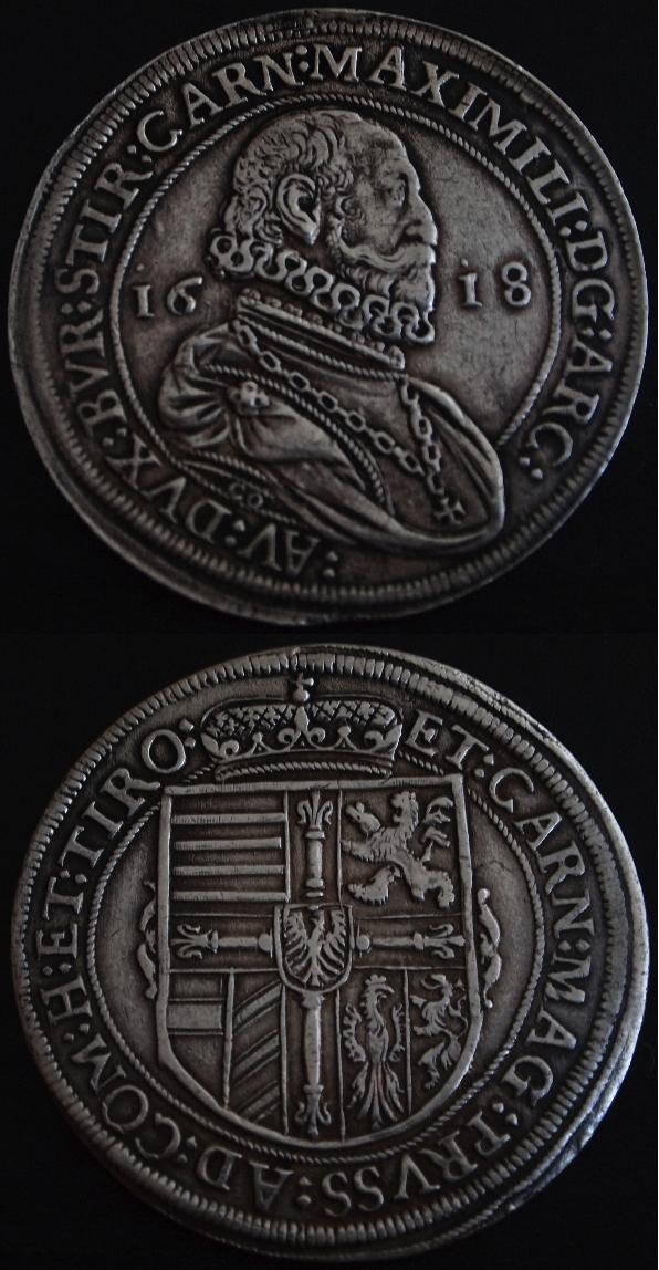 Thaler Maximiliano Archiduque de Tirol,1618