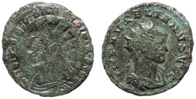 Antoniniano de Severina. CONCORDIAE MILITVM. Concordia estante a izq. Ceca Antioch. Aureliano_reduit