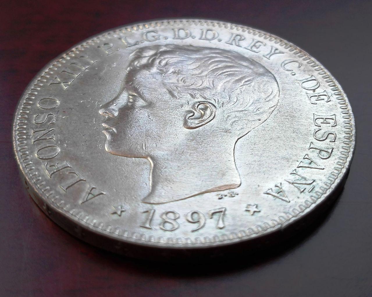 1 peso Filipinas 1897, Alfonso XIII  1_peso_fiolipnas_2