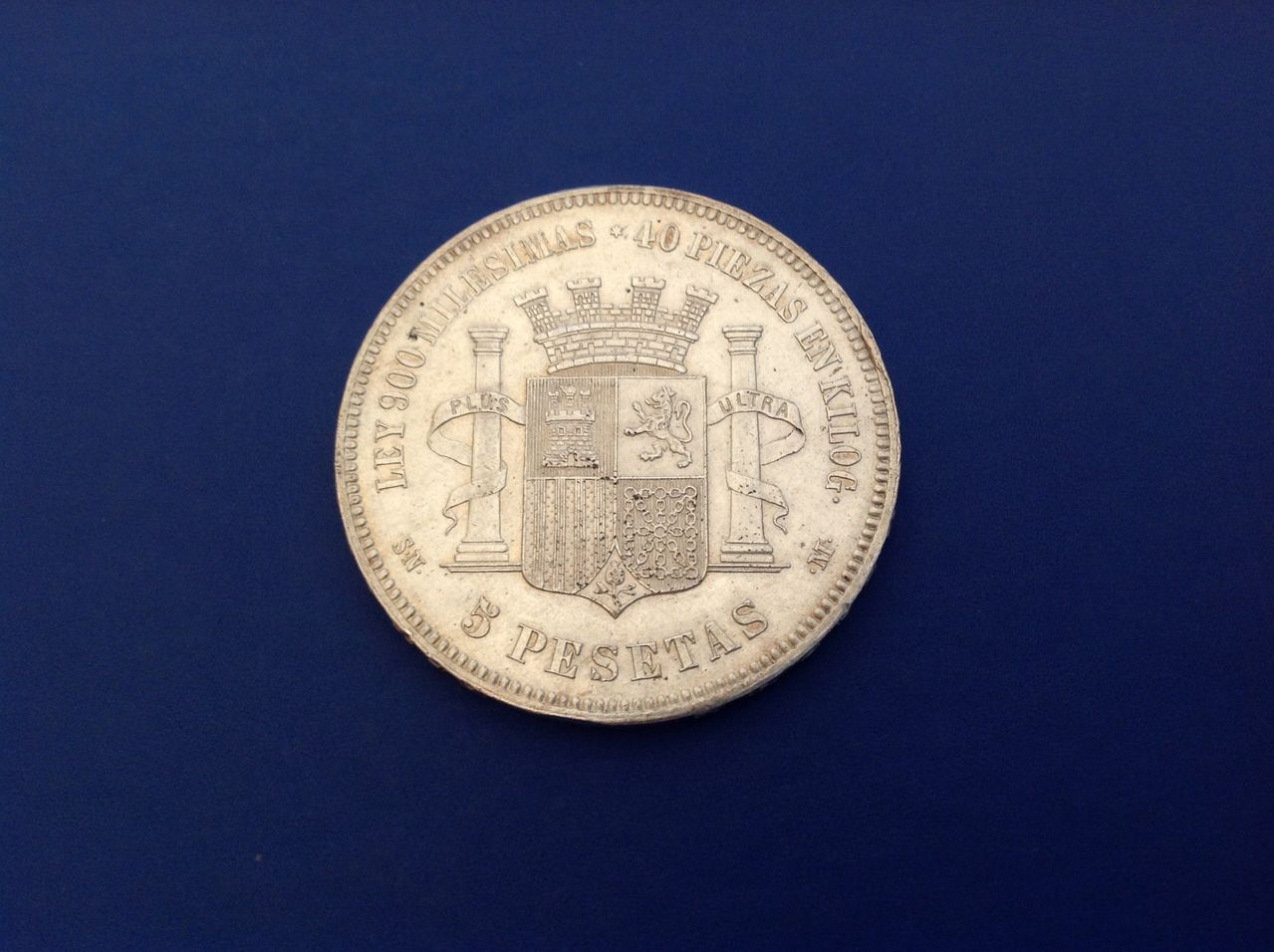 5 pesetas 1870 Gobierno Provisional Image