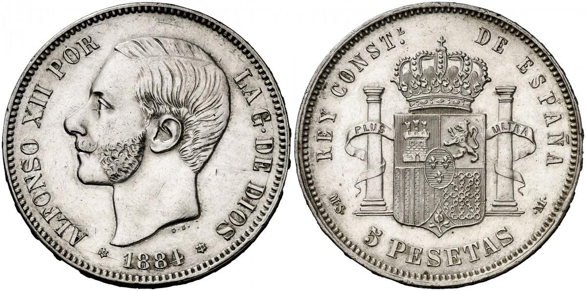 5 pesetas 1884 *18*84. Alfonso -XII. 5_ptas_1884_foro