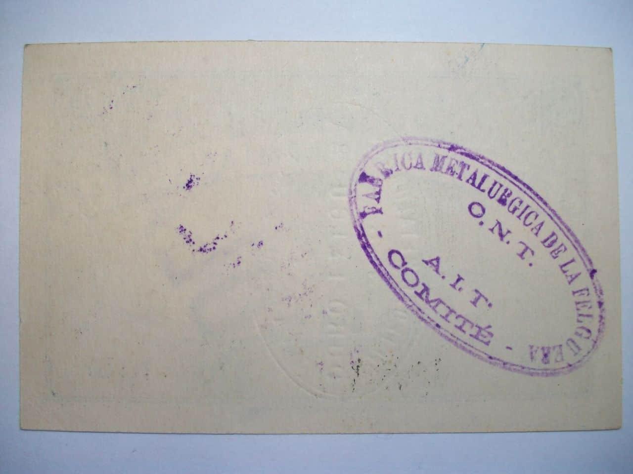 2 Ptas. Fábrica Metalúrgica de La Felguera. Marzo 1937. Anulado 100_1601