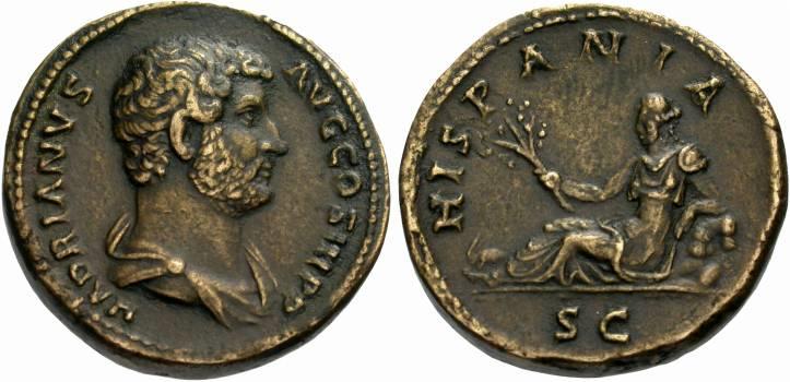 Dupondio de Hadriano. HADRIANVS AVG COS III P P. HISPANIA - SC. Ceca Roma. HADRIANO