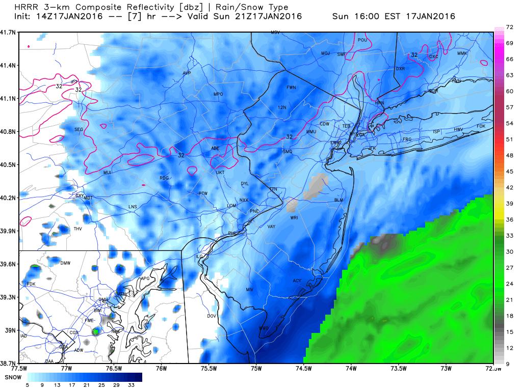 "01/17/16 ""Brush"" Storm Observations  Hrrr_ref_nj_8"