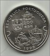 200 Escudos (Vasco da Gama primer viaje a Calcuta). Portugal. 1998  200_escudos_V_Gama_r