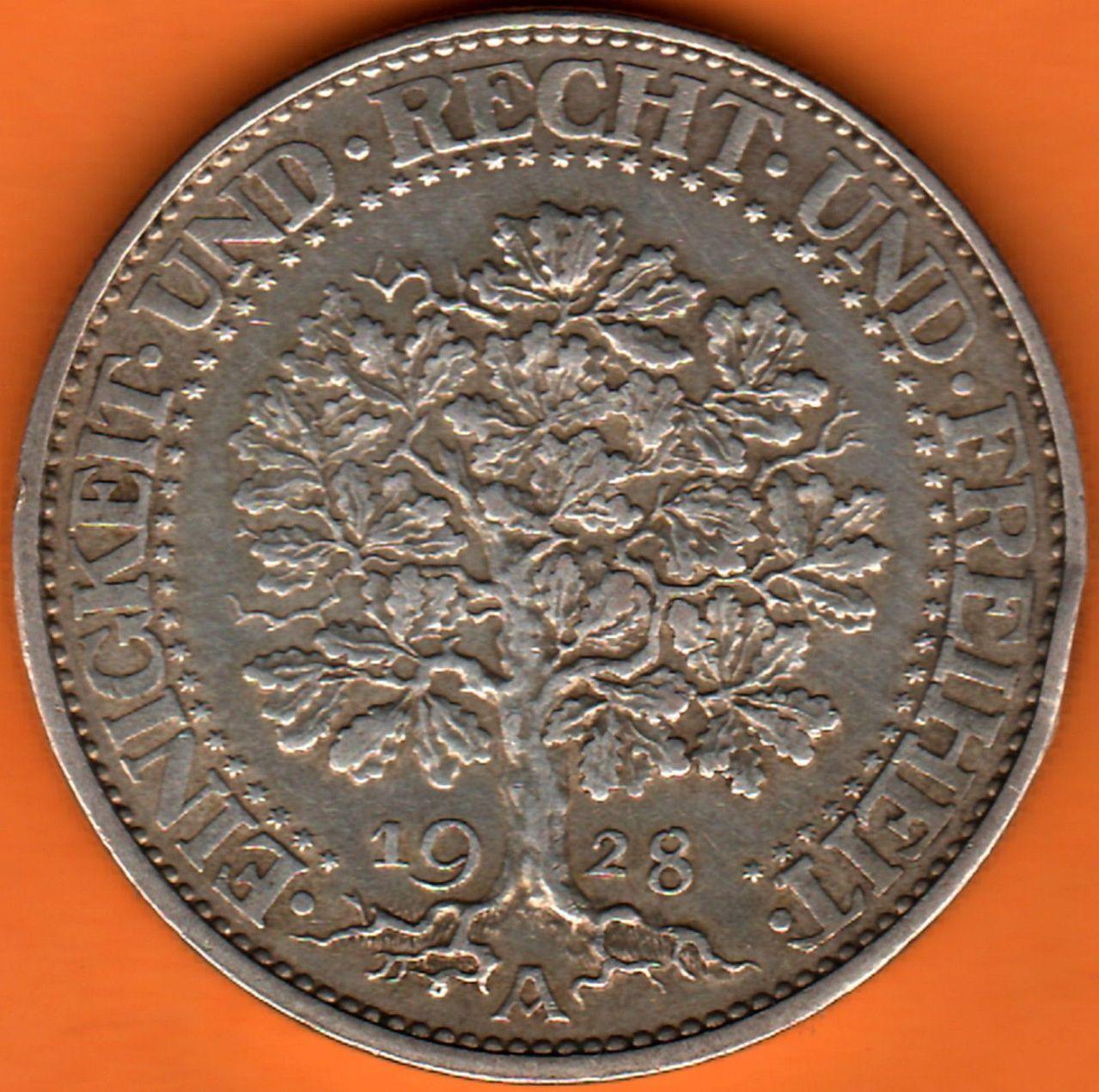 Republica de Weimar 5 Reichsmark 1928 1928b