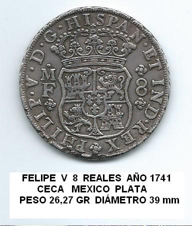 8 reales de Felipe V año 1741 Image