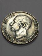 5 Pesetas 1885 *87 - Alfonso XII Image