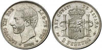 2 pesetas 1881. Alfonso XII 2389209.m