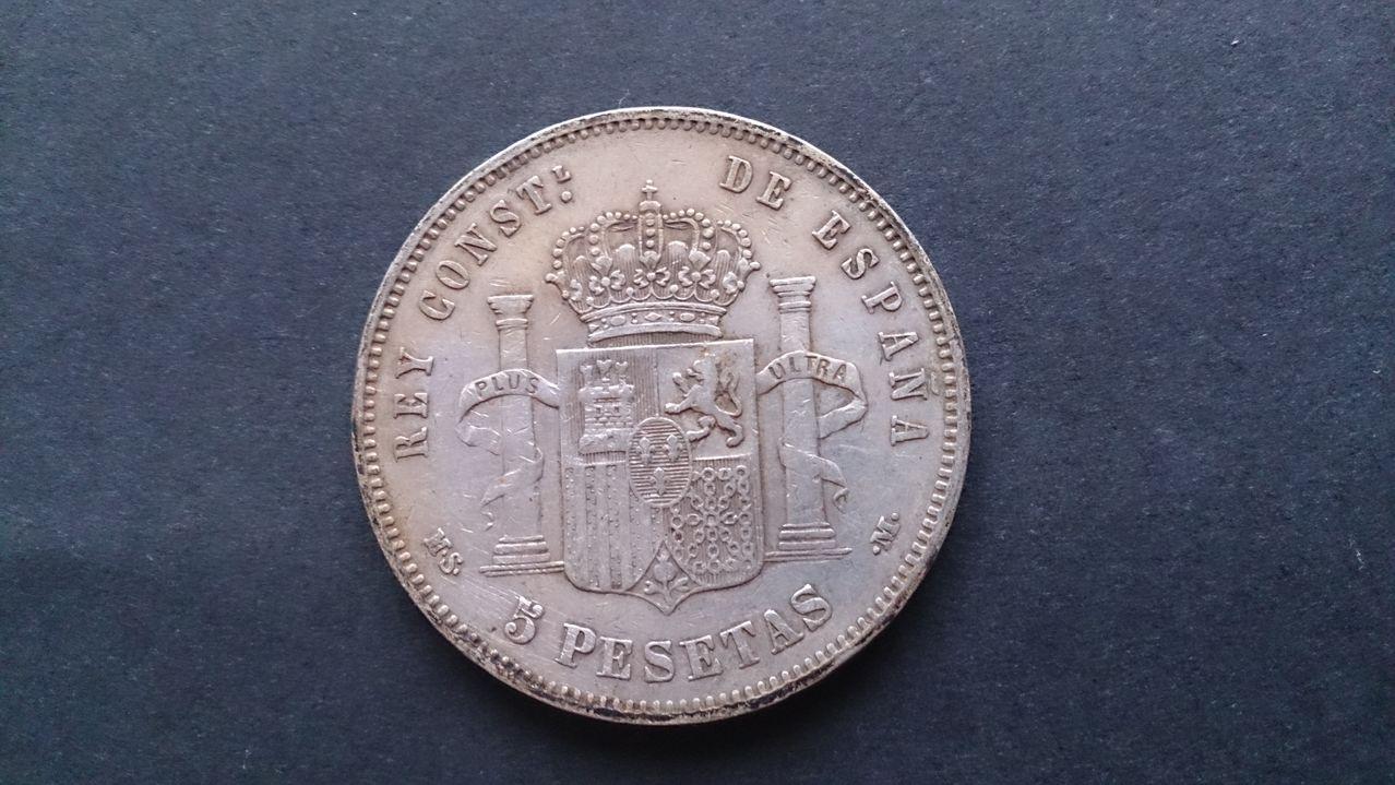 5 pesetas 1885 *(18-87). Alfonso XII.  DSC_3262