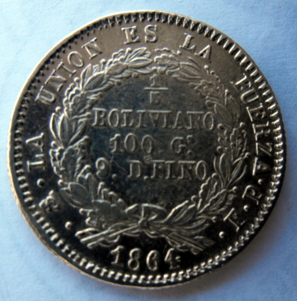 1/5 Boliviano. Bolivia. 1864 2sd_S