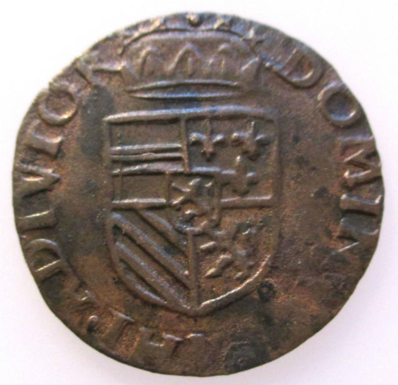 Monedas acuñadas en los Paises Bajos a nombre de Felipe II - Página 5 Spanish_Netherlands_Duit_Gigot_Maastricht_Philip