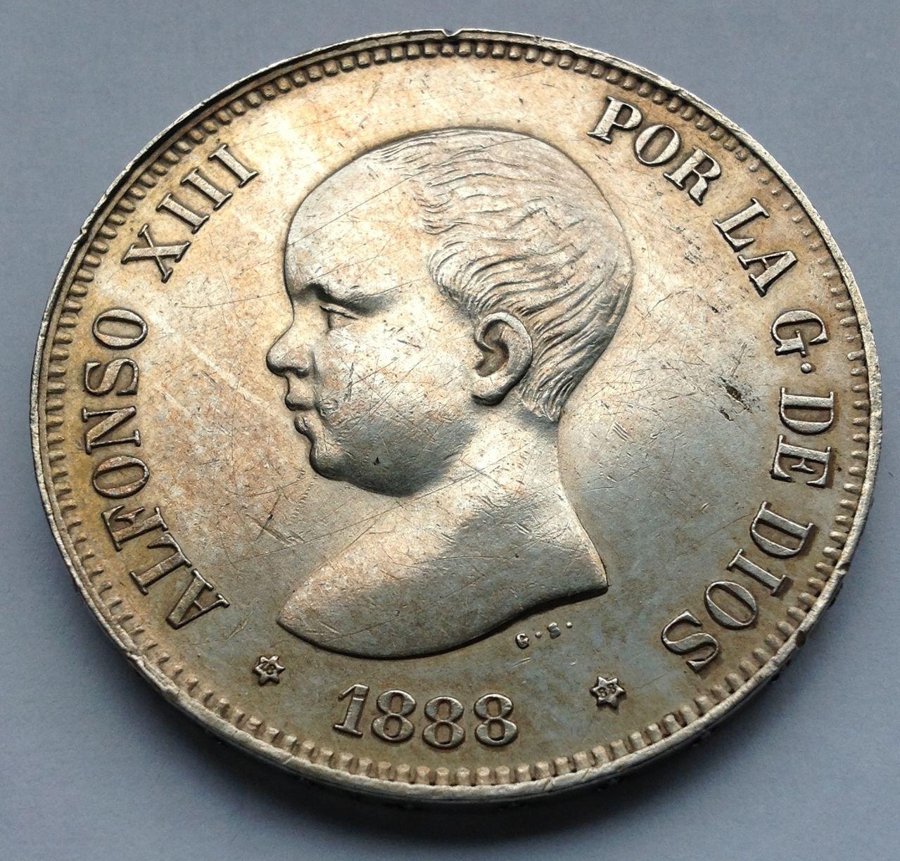 5 pesetas 1888 Alfonso XIII IMG_1387