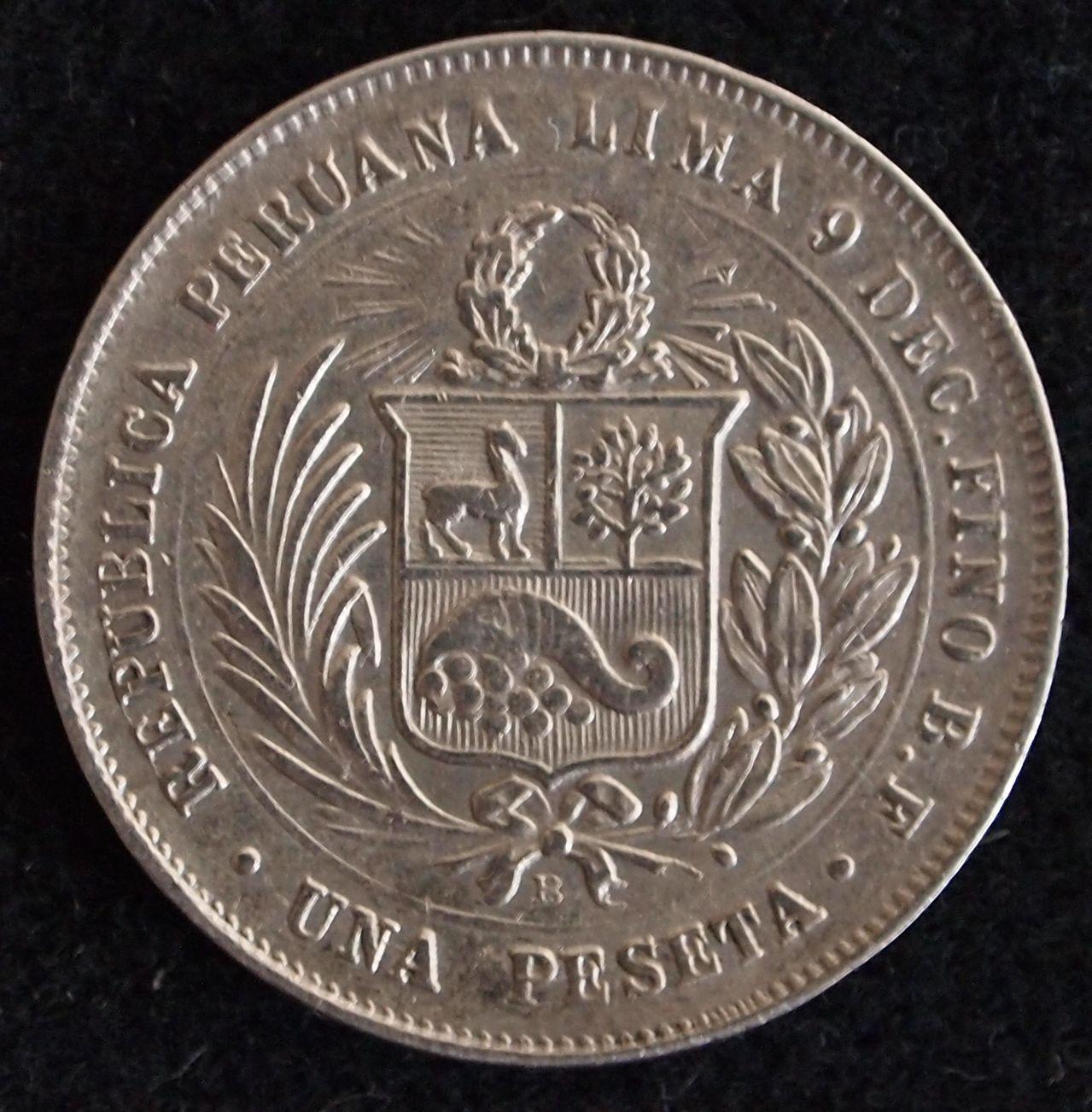 1 peseta peru 1880 2