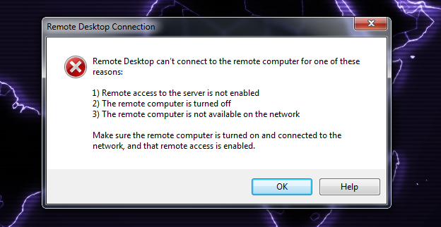 Can't control my home server with Remote Desktop anymore... Error