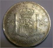 5 Pesetas. Alfonso XIII 1892 P·G· ·M· 5_PTS_afonso_XIII_1892_REVERSO_2_hoy