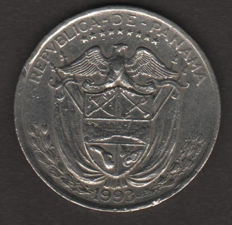 MONEDA DE 1/4 DE BALBOA - PANAMA 1993 REVERSO_UN_CUARTO_BALBOA