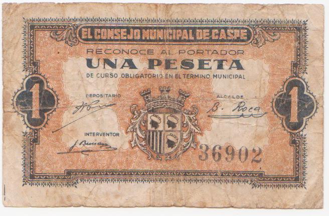 1 Peseta Caspe, 1937 Caspe_1_peseta_1937