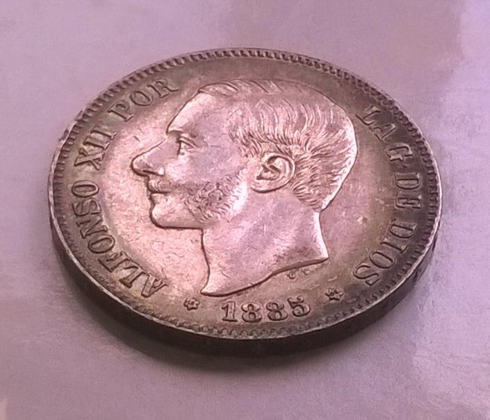 5 pesetas 1885 18*86*, Alfonso XII WP_20150403_006