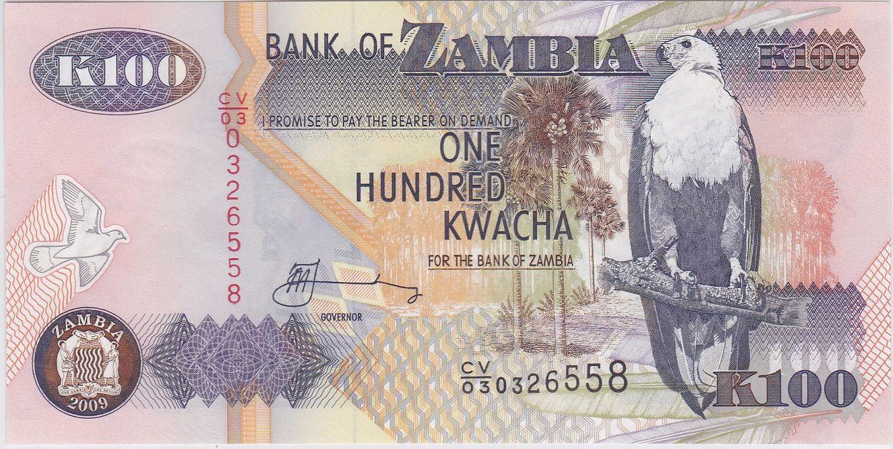 100 kwacha, Zambia (2009) Zambia_100_kwacha_2009_A