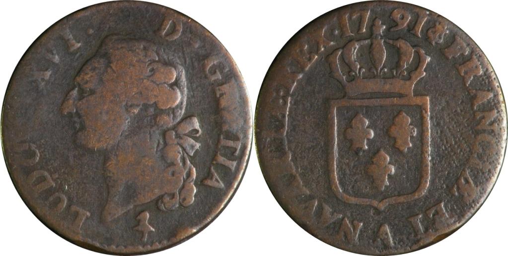 1 Liard. Louis XVI de Francia. 1791  01_1sol1791_LUISXVI