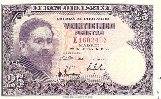 billete de 25 pesetas de 1954 Image
