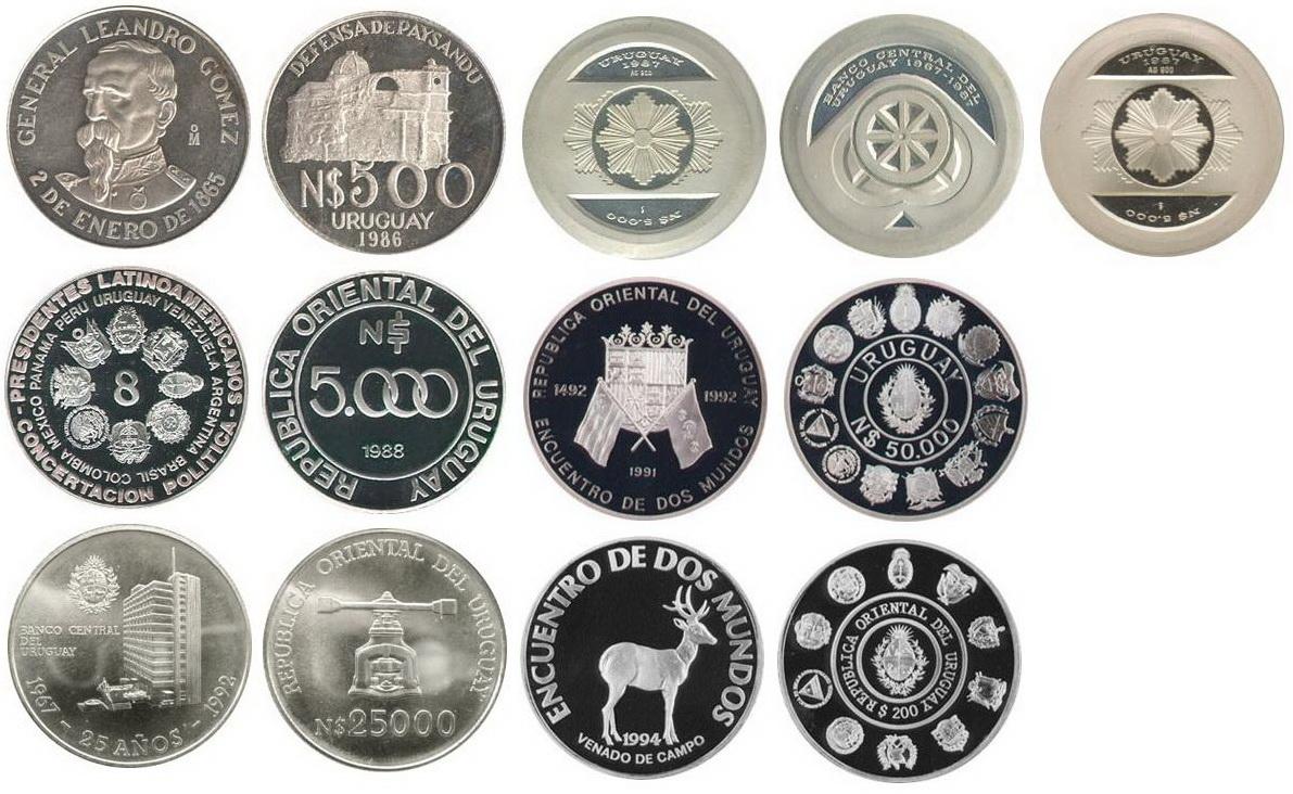 Monedas conmemorativas de Uruguay acuñadas en plata 1961 - Presente. Dibujo_2