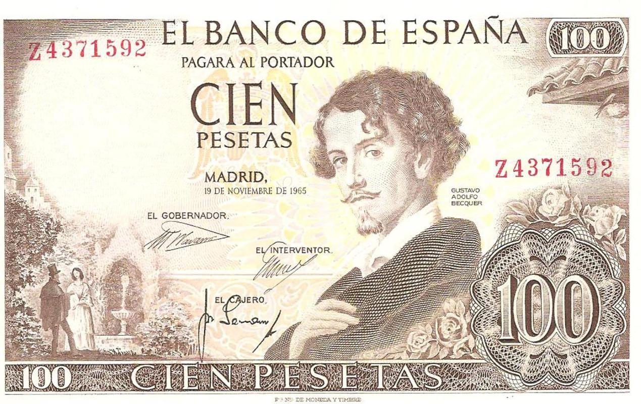 billete de 100 pesetas de 1965 Image