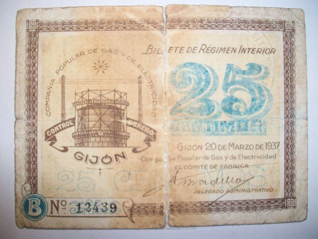 El billete peor conservado de esta seccion Compa_a_del_Gas_Gij_n_25_Cts