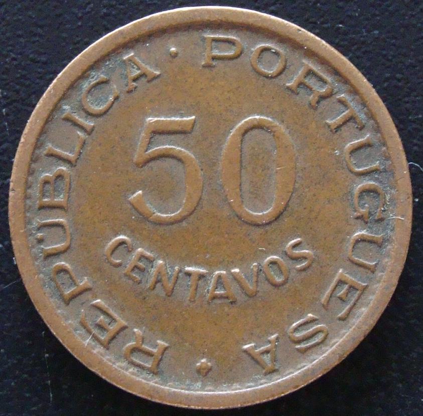 50 Centavos de Escudo. Guinea Portuguesa (1952) GNB_50_Centavos_escudo_1952_anv