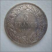 5 Francos 1847 Leopoldo I Bélgica Image