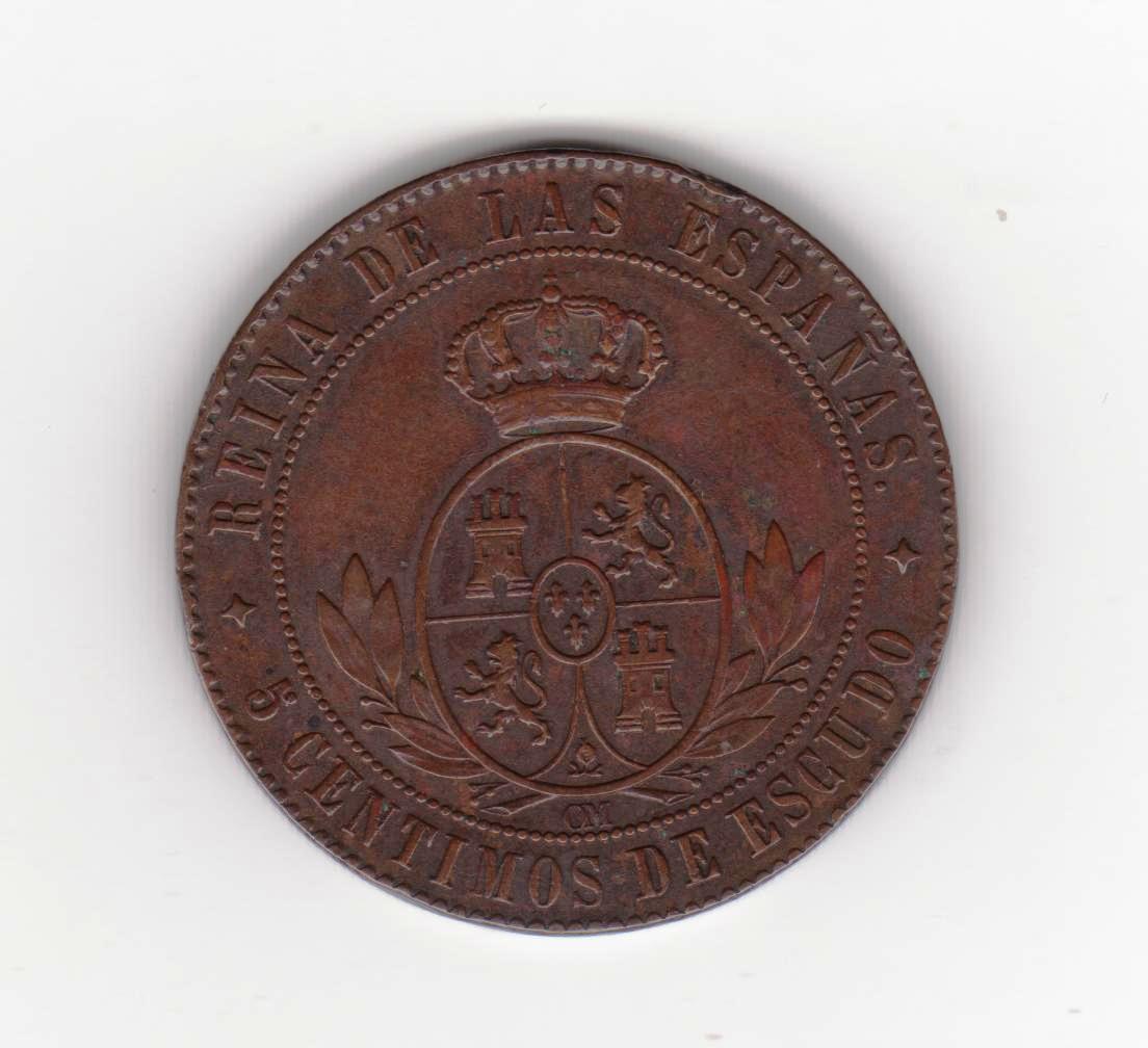 5 céntimos escudo 1867 Jubia, Isabel II 5_centimos_escudo_isabel_II_001
