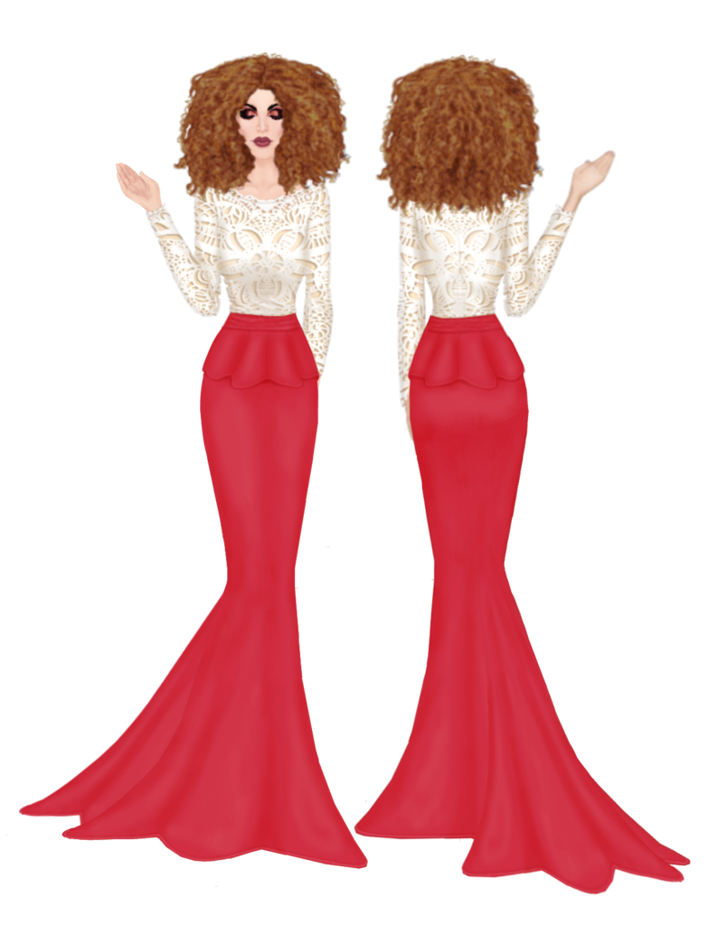Front & Back view Long lace gown Back_N_Front_long_creamsamon_dresses_outfit